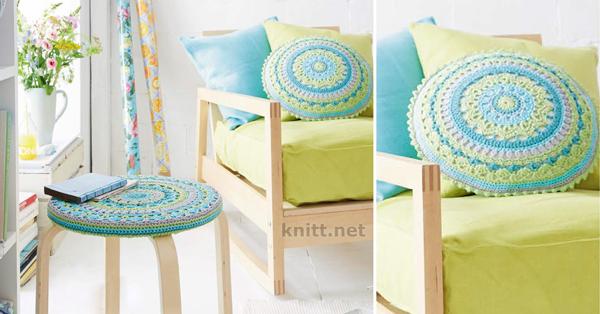 Вязанные подушки для стульев своими руками 44