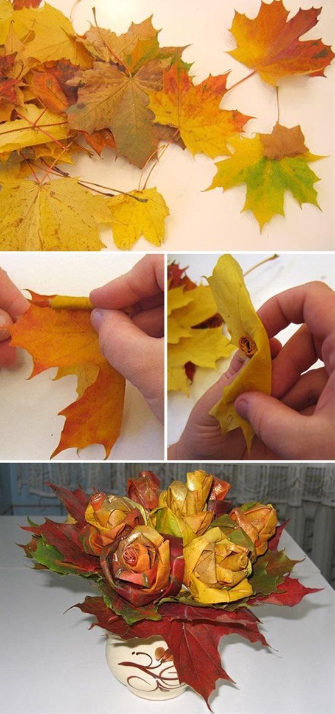 Простые поделки из кленовых листьев 12