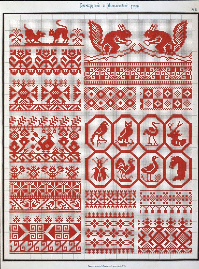 Вышивка с узорами в крестики 953
