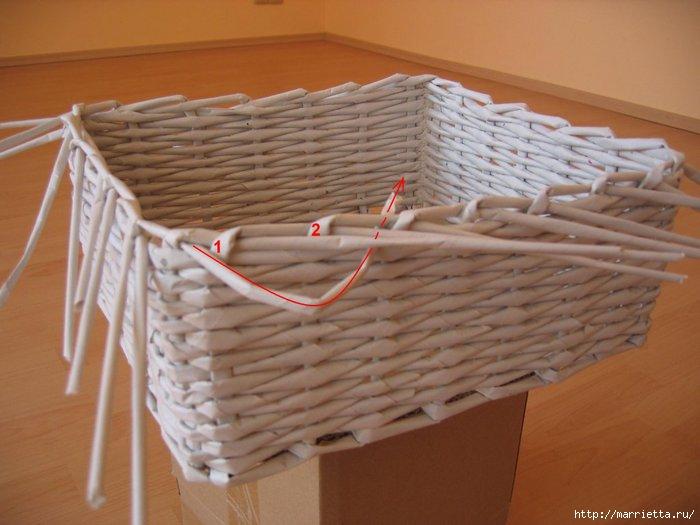 Как завершить плетение корзины из бумаги