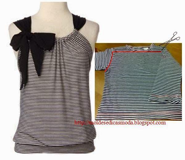 9f7076d5511 Интересная идея переделки трикотажной футболки в стильную летнюю блузку.  Даже выкройка не нужна!