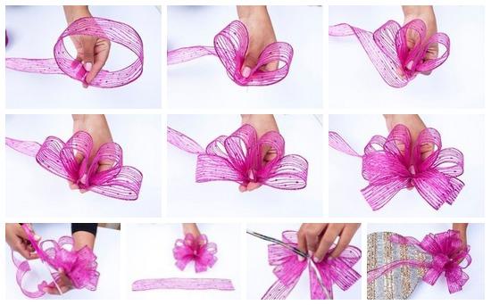 Бант цветок из атласной ленты своими руками фото 7