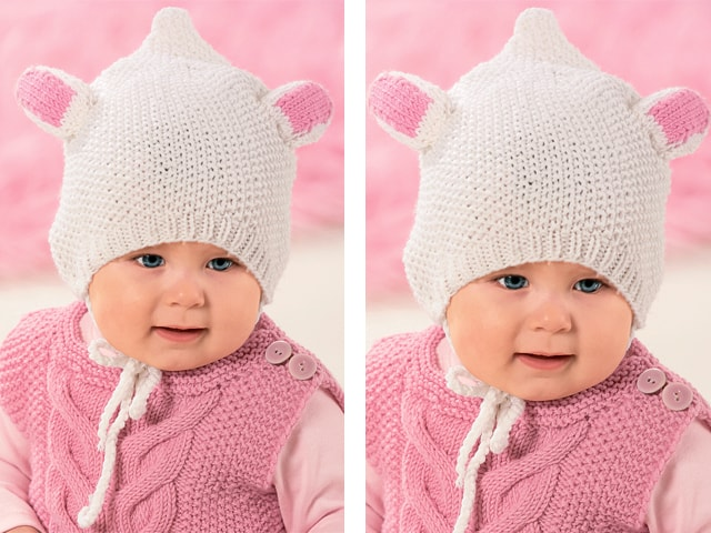 Вязание детских шапочек с ушками на спицах 39
