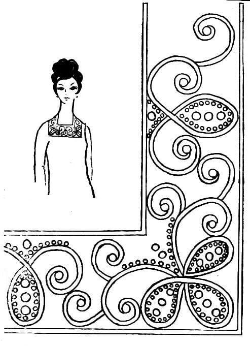 Узор для вышивки бисером на платье 64