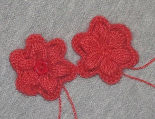 Вязаные цветы спицами с описанием